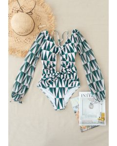 Mesh Sleeve Cut-Out Halter Swimsuit in Green Triangle
