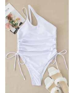 Drawstring Side One-Piece Swimsuit in White