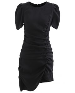 Puff Shoulder Ruched Bodycon Dress in Black