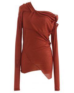 Oblique Shoulder Long Sleeve Asymmetric Top