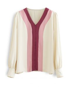 Muted Color Block V-Neck Chiffon Top