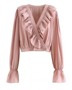 Buttoned Wrap Ruffle Crop Top in Pink