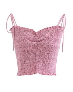 Ruched Front Shirring Crop Cami Top in Pink