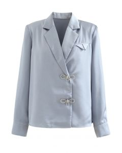 Crystal Brooch Padded Shoulder Satin Shirt in Blue