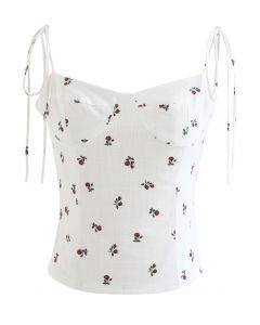 Rose Sweetheart Self-Tie Crop Cami Top