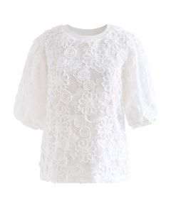 3D Sunflower Lace Top in White