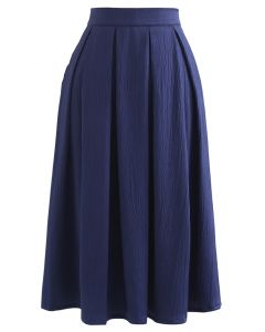 Polished Textured Pleated Midi Skirt in Navy