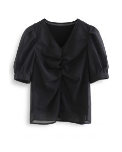 V-Neck Ruched Organza Twinset Top in Black