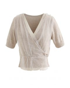 Mesh Overlay Wrap Crop Knit Top in Taupe