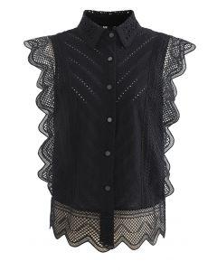 Chemise sans manches brodée à œillets en dentelle ondulée en noir