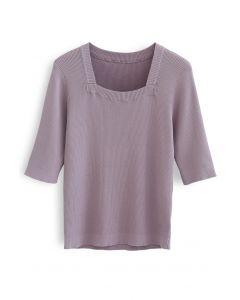 Haut en maille à col carré et manches mi-longues en violet