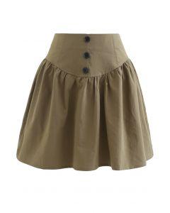 Mini-jupe taille haute à boutons en kaki