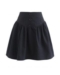 Mini-jupe taille haute à bordure boutonnée en noir