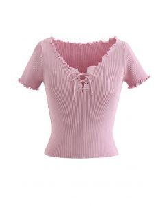 Top court en maille à lacets et bord de laitue en rose