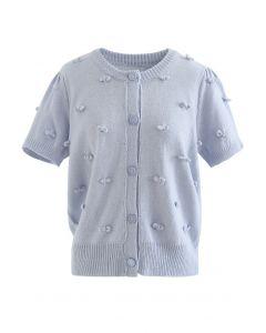 Cardigan en tricot boutonné à manches courtes Sweet Knot en bleu bébé