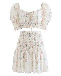 Bouquet Shirred Ruffle Crop Top and Skirt Set