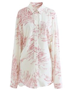 Dainty Floral Print Longline Shirt in Pink