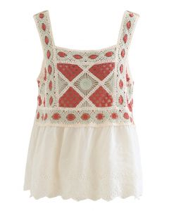 Bohemia Crochet Spliced Tank Top