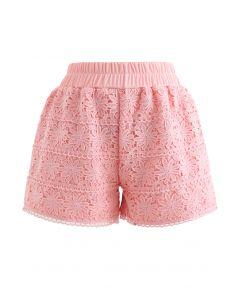 Sunflower Crochet Overlay Shorts in Peach
