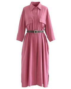 Button Down Belted Cotton Shirt Dress in Pink