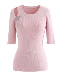 Shoulder Cutout Bowknot Rib Knit Top in Pink