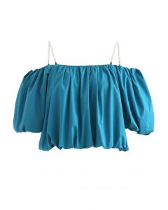 Bubble Sleeve Cold-Shoulder Crop Top in Cyan