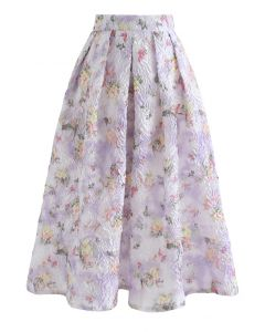 Lavender Garden Embossed Pleated Midi Skirt