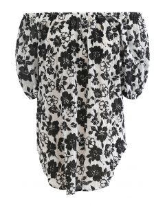 Off-Shoulder Black Floral Textured Top