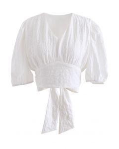 Plaid Jacquard V-Neck Tie Waist Crop Top in White