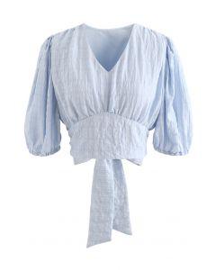 Plaid Jacquard V-Neck Tie Waist Crop Top in Blue