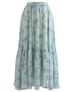 Aesthetic Floral Frill Hem Maxi Skirt in Teal