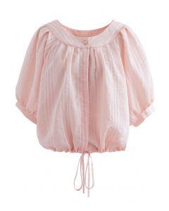 Chemise courte boutonnée à rayures en rose