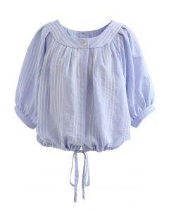 Chemise courte boutonnée à rayures en bleu