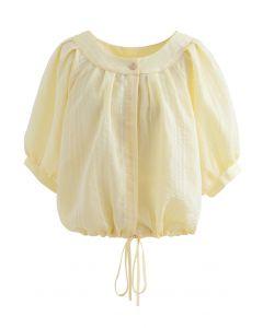 Chemise courte boutonnée à rayures en jaune