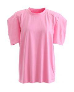 Short Sleeve Padded Shoulder Top in Pink