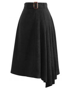 Side Pleats Belted Asymmetric Midi Skirt in Black