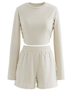 Cutout Tie Back Crop Top and Shorts Set in Light Tan