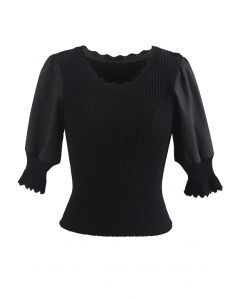 Spliced Mid Sleeve Fitted Knit Top in Black
