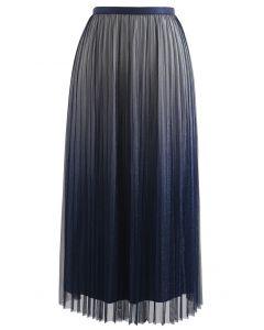 Gradient Shimmer Lining Pleated Mesh Skirt in Navy