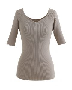 Sweetheart Neck Fitted Knit Top in Taupe