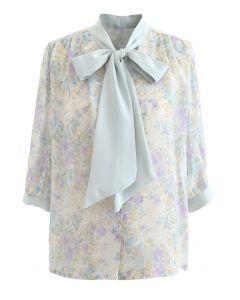 Vintage Floral Tie Neck Sheer Shirt in Mint