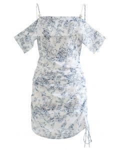 Drawstring Side Cold-Shoulder Printed Dress
