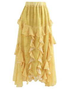 Ruffle Decorated Gingham Maxi Skirt in Yellow