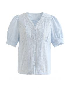 V-Neck Buttoned Eyelet Cotton Top in Sky Blue