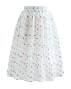 Colorful Dots Jacquard Organza Pleated Skirt in White