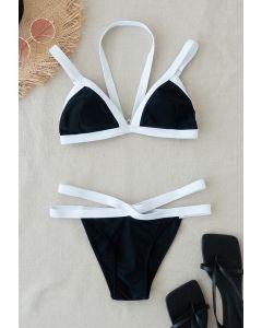 Ensemble de bikini licou à rayures contrastées