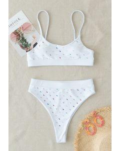 Ensemble de bikini à sequins colorés en blanc