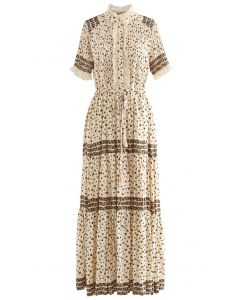 Boho Flowery Printed Button Down Maxi Dress