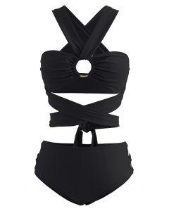 Halter Neck O-Ring Bikini Set in Black