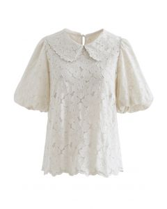 Embroidered Flower Puff Sleeve Mesh Top